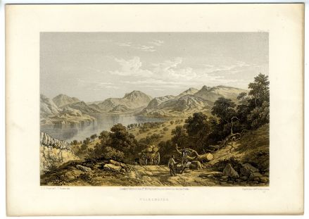 1859 Antique Print ULLSWATER Gowbarrow Fell LAKE DISTRICT